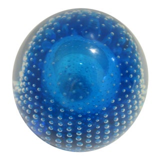 1970s Vintage Handblown Glass Paperweight For Sale