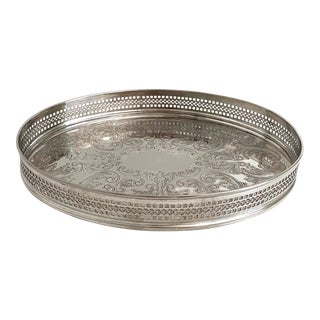 Vintage English Silver Gallery Tray For Sale