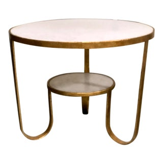Modern History 2 Tier Marble Round Table For Sale