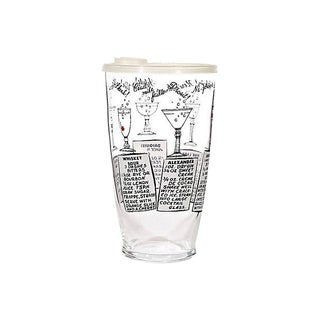 1960s Recipe Cocktal Glass Shaker
