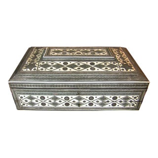 19th C. Anglo Indian Large Sadeli Sewing Box With Hidden Writing Slope For Sale