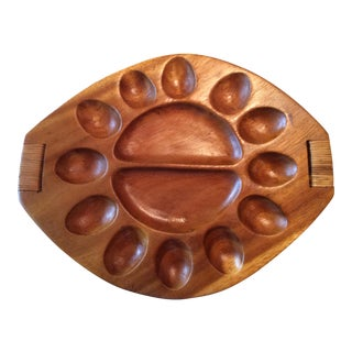 Boho Handcrafted Wood Devil Egg Tray For Sale
