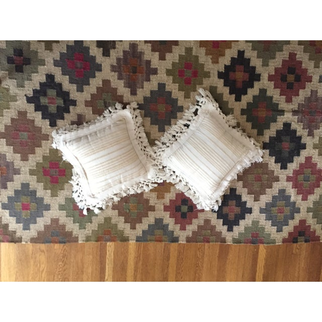 Boho Chic White Fringed Woven Pillows - A Pair For Sale - Image 3 of 6