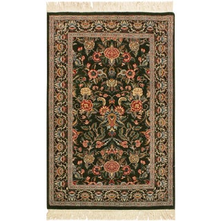 1990s Traditional Gasvin Pak-Persian Nicola Green and Gray Wool Rug (2'6 X 4'3) For Sale