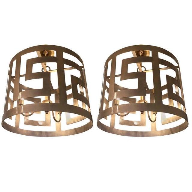 Metal Handcrafted Greek Key Motif Drum Chandeliers - a Pair For Sale - Image 7 of 7