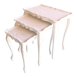 Vintage French Painted & Distressed Nesting Tables - Set of 3