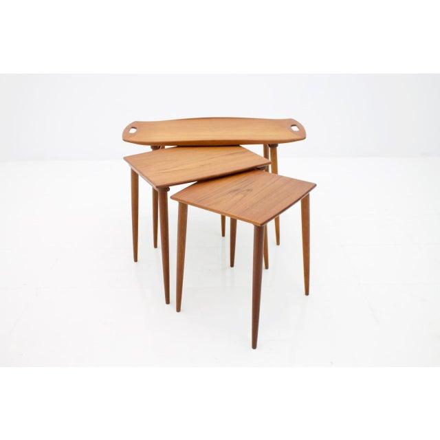 Mid-Century Modern Jens Quistgaard Nesting Tables in Teak Wood, Denmark, 1960s For Sale - Image 3 of 9