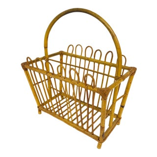 1950s Rattan Magazine Holder With Handle For Sale