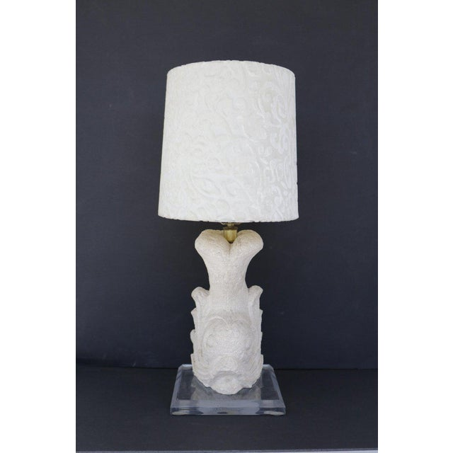 Baroque Carved Stone Dolphin Table Lamp For Sale - Image 3 of 8