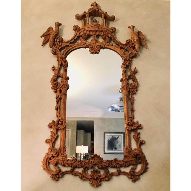 Chinese Chippendale Style Pagoda Mirror With Hoho Birds For Sale - Image 9 of 9