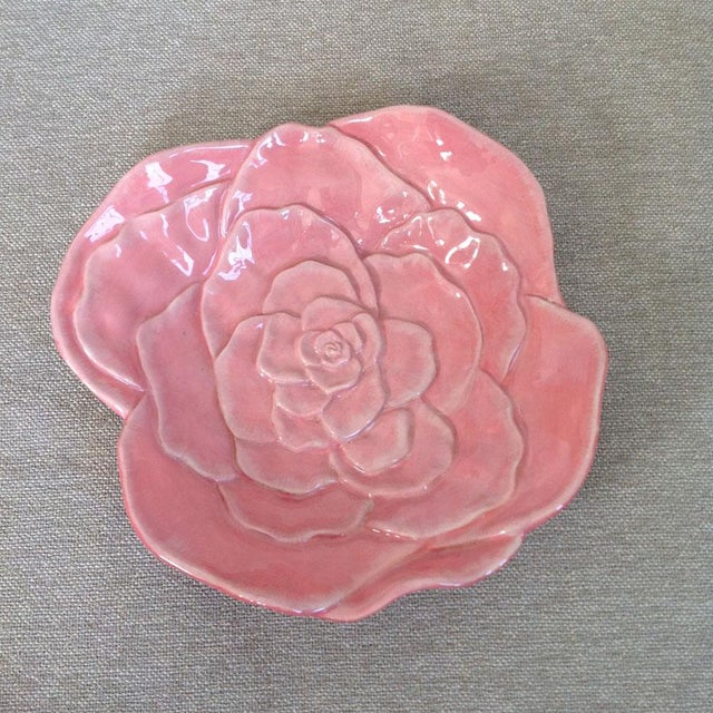 Ceramic Vintage Rose Flower Dish For Sale - Image 7 of 7