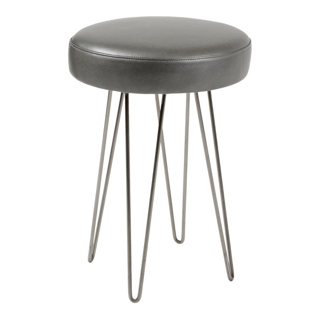 Charcoal Leather Hairpin Counter Stool For Sale