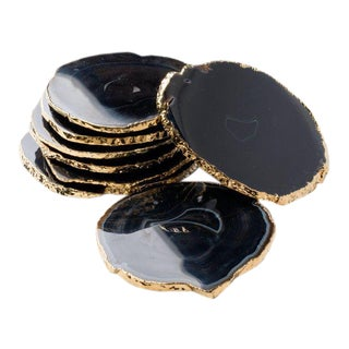 Semi-Precious Gemstone Coasters in Black Onyx and 24-Karat Gold - Set of 8 For Sale