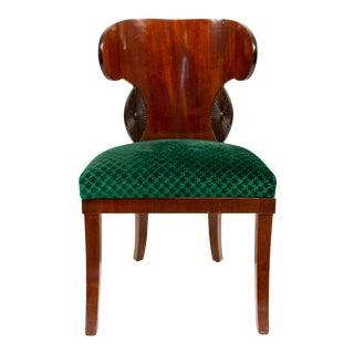Russian Neoclassic Green Velvet Side Chair For Sale