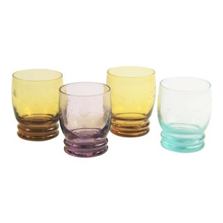 Vintage Mid-Century Modern Etched Colored Glass Shot Glasses - Set of 4 For Sale