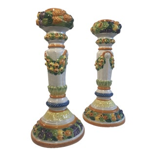 Vintage Mid-Century Italian Faience Majolica Candleholders - A Pair For Sale