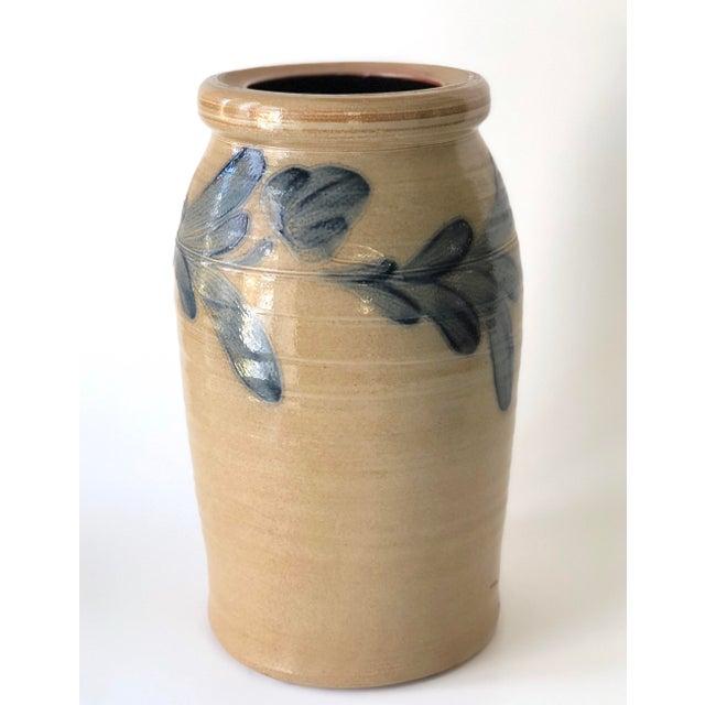 Tan Farmhouse Salt Glazed Vase With Cobalt Blue Floral Motif - Vintage For Sale - Image 8 of 12