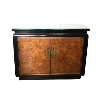 "Art Deco Chinoiserie Burl Wood Cabinet Chest 31"" H"