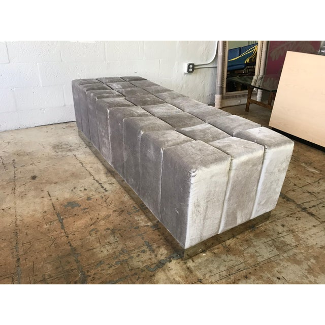 Harvey Probber Style Biscuit Tufted Grey Velvet and Steel Bench or Ottoman For Sale - Image 10 of 13