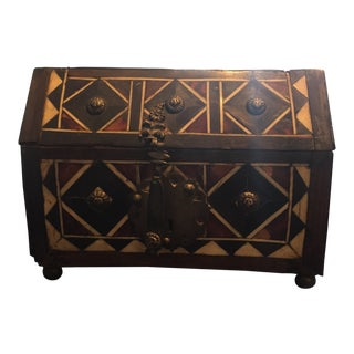Antiique Spanish Box With Inlaid Marketry For Sale
