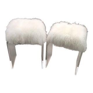 Contemporary Lucite and White Fur Stools - a Pair