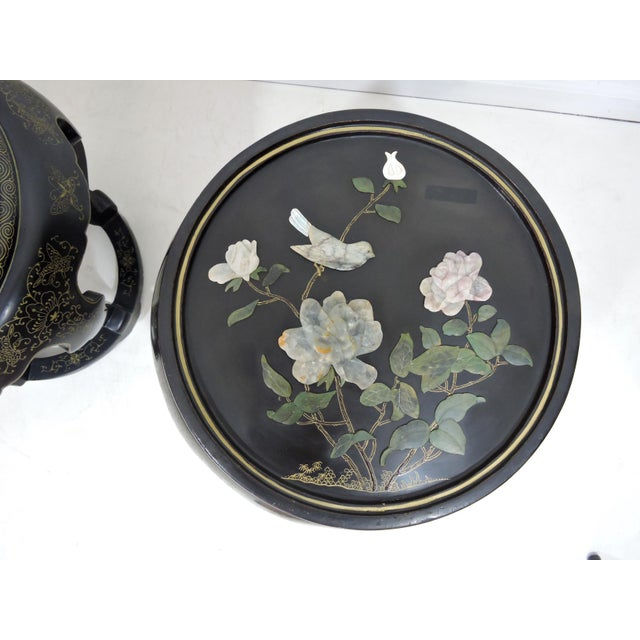 Vintage Chinese Mother of Pearl & Soapstone Black Lacquer Garden Stools/Side Tables - a Pair For Sale In Tampa - Image 6 of 9
