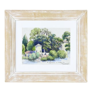 1950s House and Landscape Watercolor & Pencil Painting by Runser, Framed For Sale