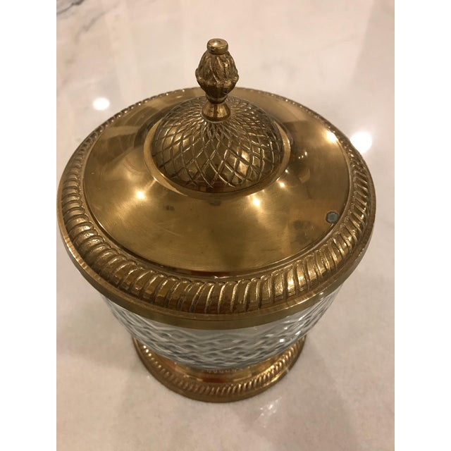 Brass & Cut Glass Lidded Jar For Sale - Image 4 of 5