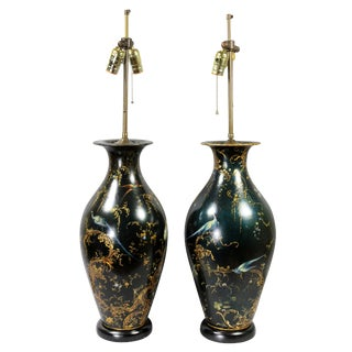 Victorian Japanned Table Lamps - a Pair For Sale