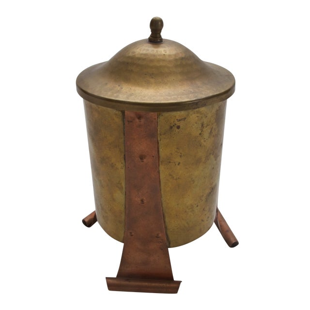 Antique Brass / Copper Canister with Lid - Image 1 of 4