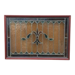 Fleur De Lis Stained Glass Window For Sale