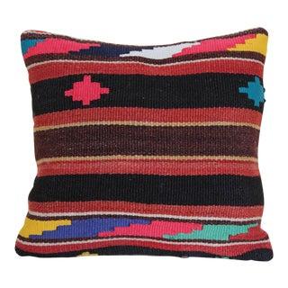 Turkish Handmade Wool Kilim Rug Pillowcase For Sale