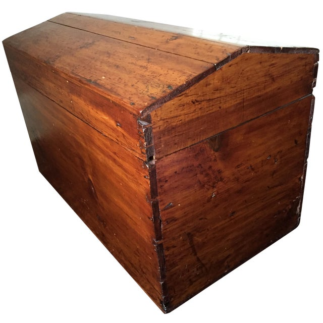 19th-C. Peaked Top Pine Trunk - Image 1 of 6