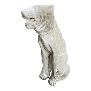 20th Century Cast Stone Italian Style Sitting Tiger Statue For Sale