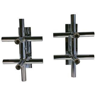 1970s Lightolier Space Age Atomic Chrome Tube Sconces - a Pair For Sale
