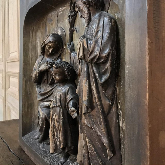Brown 19th Century Carved Panel of the Holy Family For Sale - Image 8 of 11