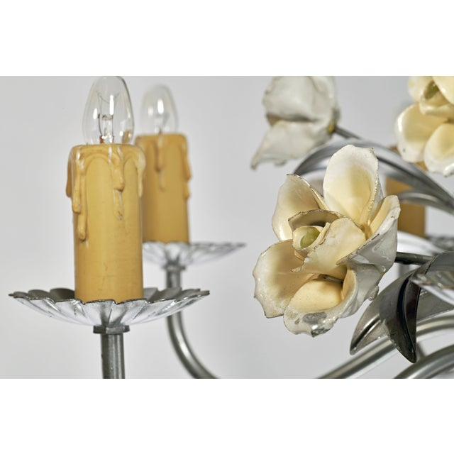 Mid Century Modern Italian Tole Floral Eight Light Chandelier For Sale - Image 12 of 13