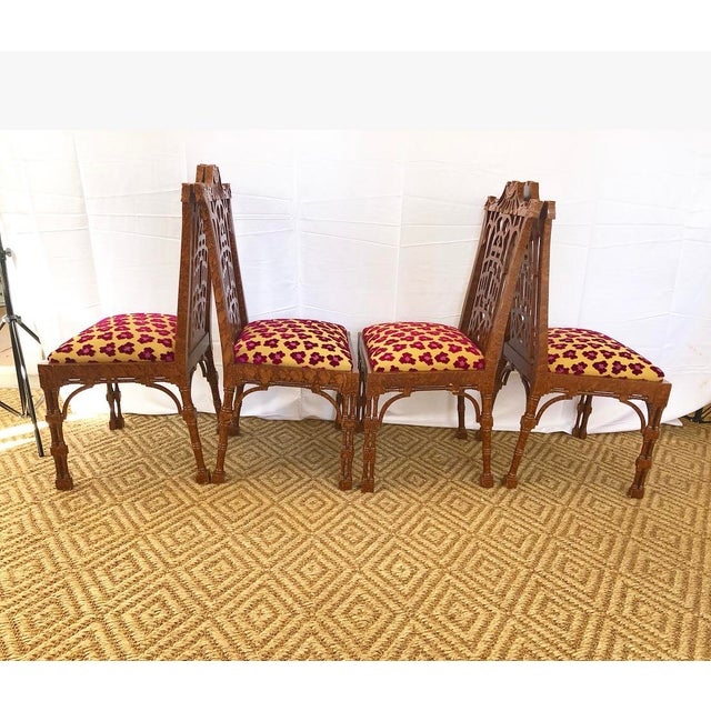 Hollywood Regency Vintage Pagoda Wooden Carved Dining Chairs - Set of 4 For Sale - Image 3 of 13