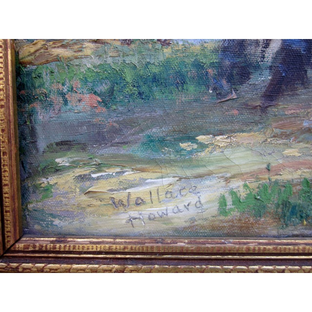 1940s Vintage 1930-1940s Wallace Howard Signed Birch Forest Landscape Oil Painting on Canvas For Sale - Image 5 of 11