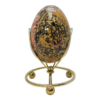 Leopard Jasper Egg on Stand For Sale