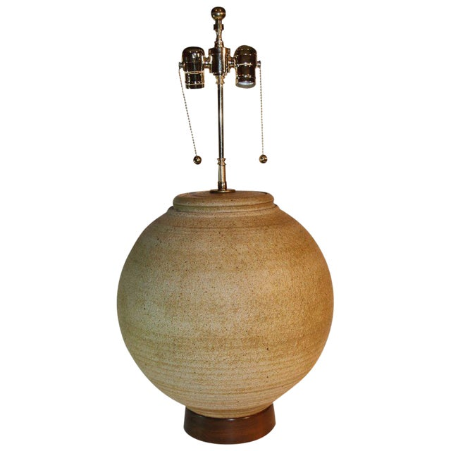 Large Bulbous Mid-Century Pottery Lamp For Sale