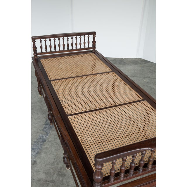 Antique Anglo-Indian Caned Daybed - Image 4 of 10
