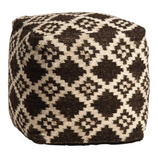 Hand Woven Wool Pouf For Sale