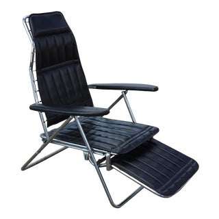Vintage Mid Century Modern Black Chrome Recliner Chair 6 Positions to Flat For Sale