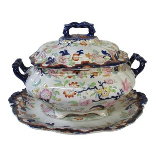 19th Century English Ironstone Tureen With Underdish and Lid