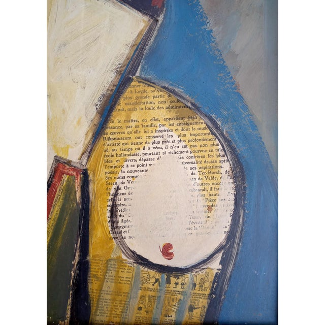 Mid 20th Century Mid 20th Century Portrait of Cubist Style Abstract Female Mixed-Media Collage, Framed For Sale - Image 5 of 11