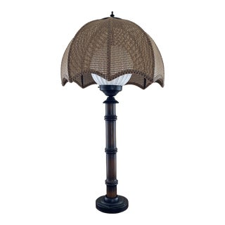 Vintage Faux Bamboo Parasol Shade Table Lamp For Sale