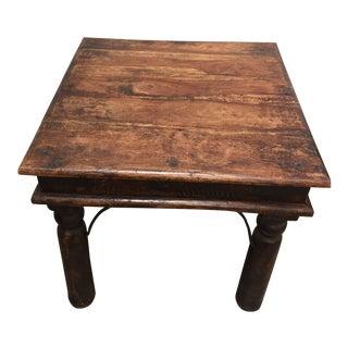 Vintage Handcrafted Teak Side Table, India For Sale