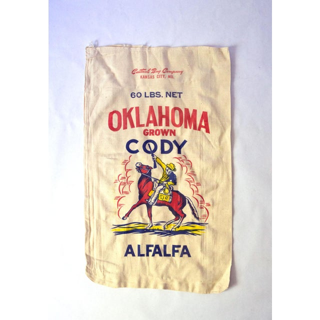 Red Vintage Oklahoma Alfalfa Seed Sack For Sale - Image 8 of 8