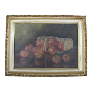 """""""Basket of Apples"""" Oil Painting on Canvas For Sale"""
